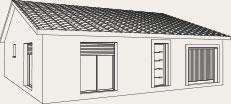 plan rectangulaire d'une maison de plain-pied - Créa Concept