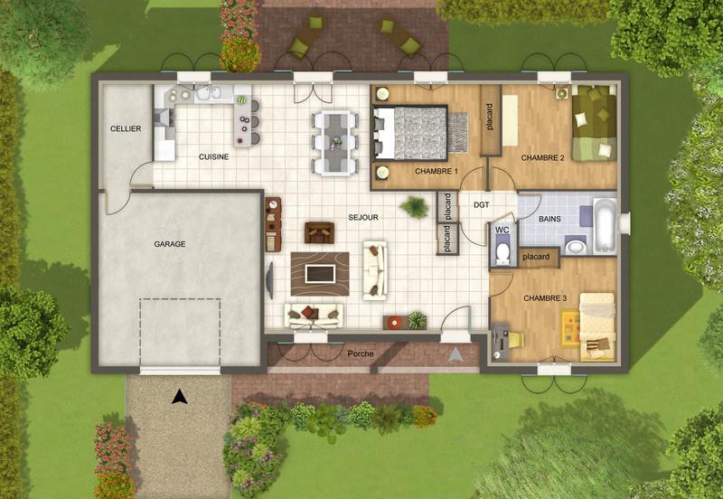 Plan de maison 3d personnalisables mod le de maison for Promoteur maison individuelle