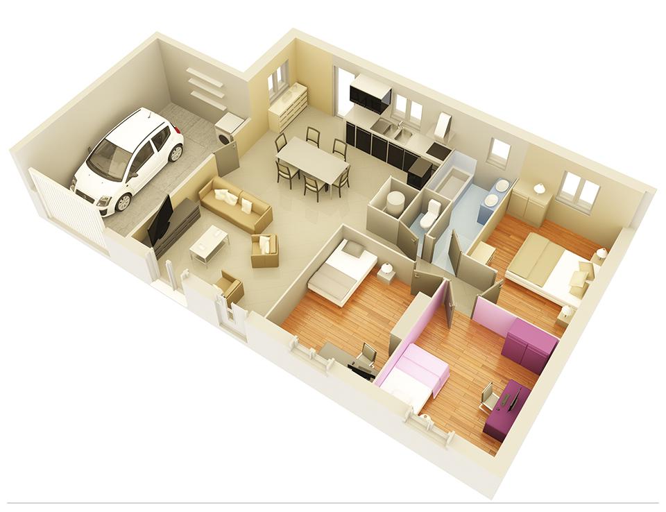 Plan maison traditionnelle mod le cr amande ardoise - Modele interieur maison ...