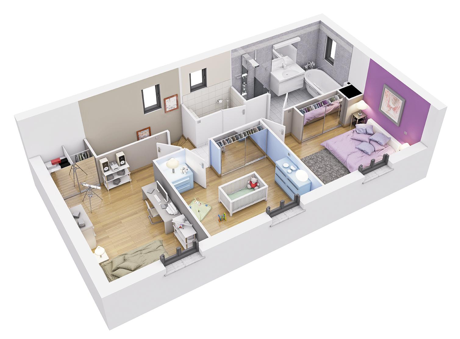 Plan de maison interieur 130 m plan architecte plan - Plan interieur de maison ...