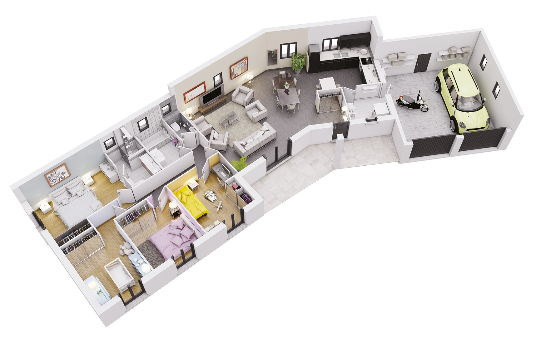 Plan maison traditionnelle mod le cr aria soleil cr a for Modele maison 6 chambres