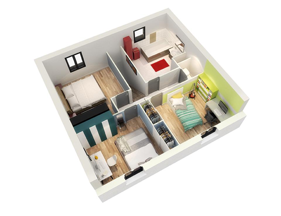 Plan maison traditionnelle mod le cr aryles contemporain for Plan interieur de maison a etage