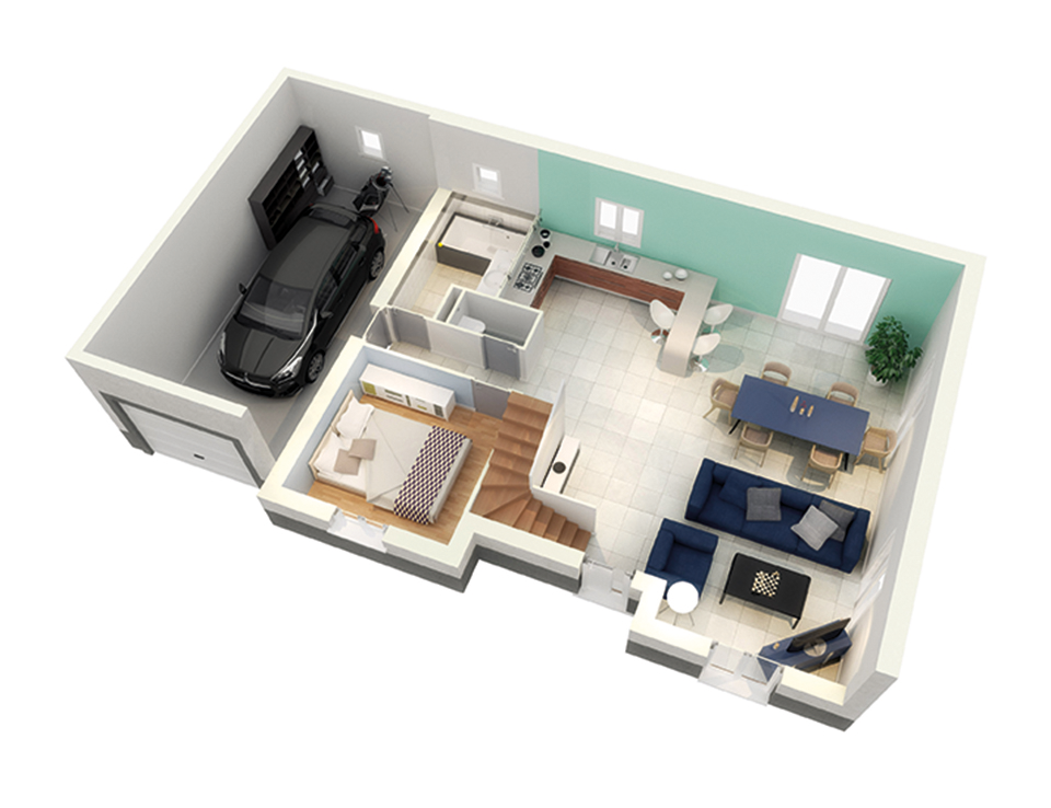 Plan maison neuve mod le cr affinit ardoise cr a concept for Plan amenagement maison