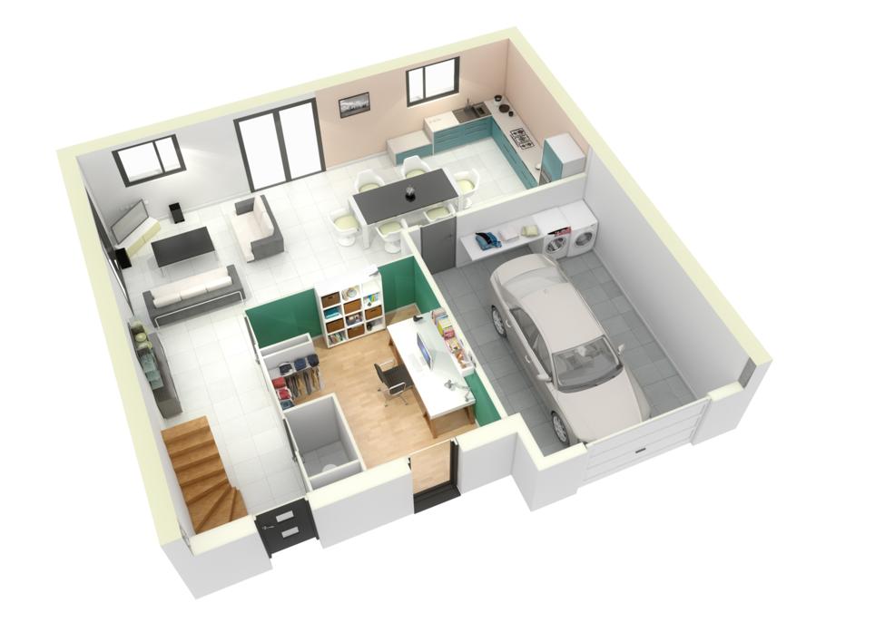 plan maison neuve mod le cr anoa contemporain cr a concept. Black Bedroom Furniture Sets. Home Design Ideas