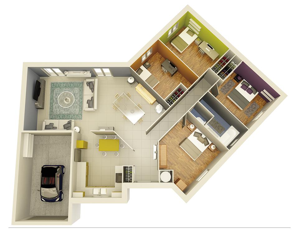 plan maison neuve mod le cr ath ne ardoise cr a concept. Black Bedroom Furniture Sets. Home Design Ideas
