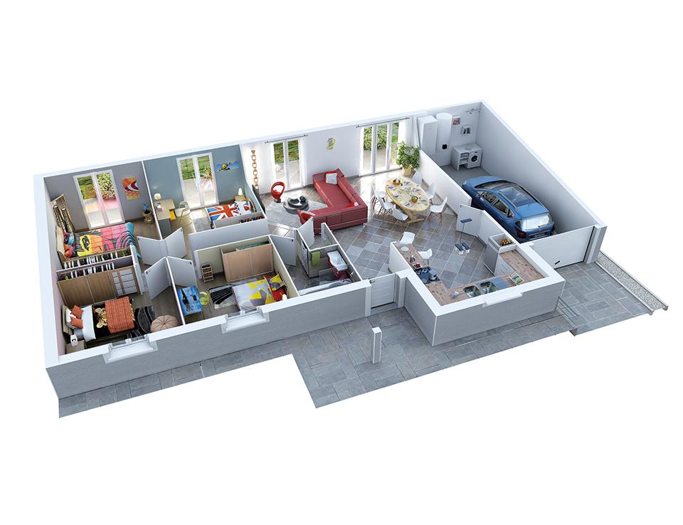 plan maison neuve mod le cr azen ardoise cr a concept. Black Bedroom Furniture Sets. Home Design Ideas