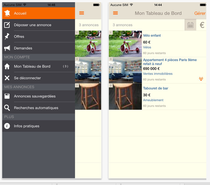 Application mobile Le Bon Coin - partenaire Créa Concept