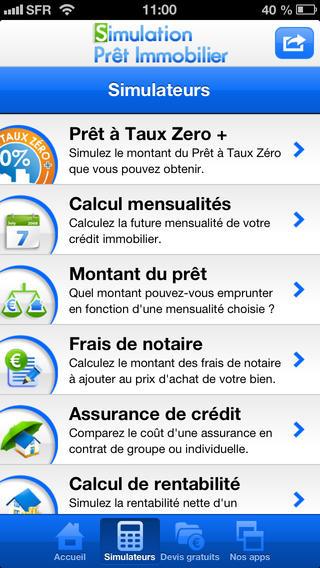 Simulation prêt immobilier - appli mobile